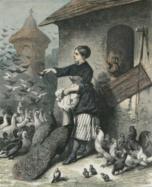 """""""The Dinner Bell,A Sketch Near Silberhausen, Saxony"""" A Hand Colored Wood Engraving Print For Sale"""