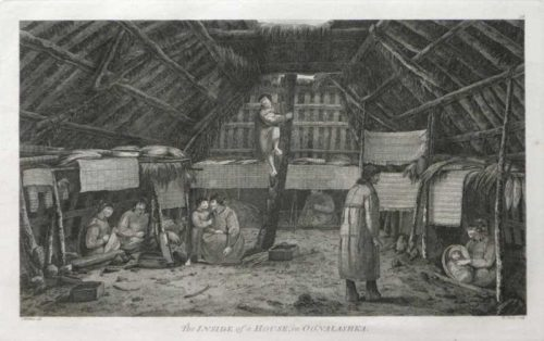 The Inside of a House in Oonalashka Alaska James Cook final Voyage 1784 engraving for sale