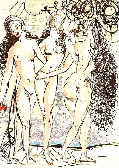 The Three Graces Salvador Dali original Lithographmlimited edition for sale