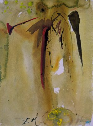 Biblia Sacra The Voice of One Crying Out original lithograph by Salvador Dali showing an angel blowing a horn.jpeg.