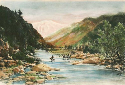 Yosemite River Crossing Hand Colored Engraving by Thomas Hill for  sale