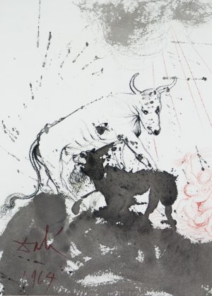 ting Straw Like an Ox  is a colored lithograph from the gouache original on heavy rag paper from Salvador Dali's five volume Biblia Sacra Suite published in Rome by Rizzoli , 1965-1969. This work is included in Albert Field 's The Official Catalog of the Graphic Works of Salvador Dali and is in excellent condition.jpg.