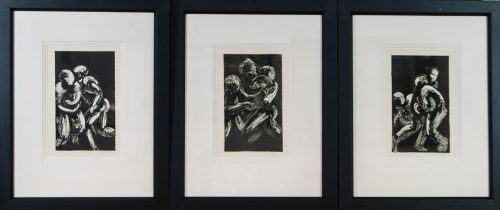 Movement l, ll, lll monotype triptych